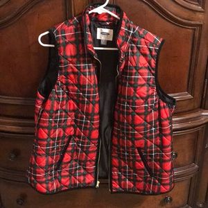 Old Navy Women's Ted & Green Plaid Puffer Vest
